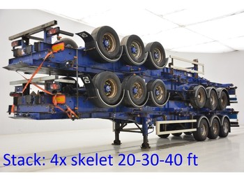 SDC Stack 4 x skelet 20-30-40 ft - container-transport/ vekselflak semitrailer